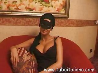 Brunette Italian wife in a mask gets a full