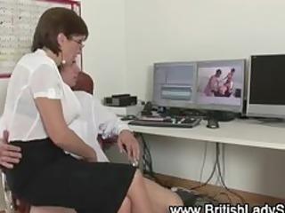 British mature slut Lady Sonia handjob