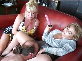 Two Matures Toy and Dominate Guy