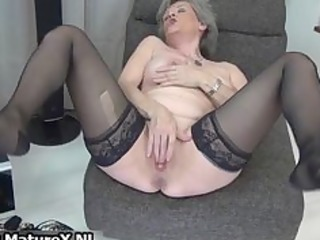 Sexy granny in black stockings loves part5