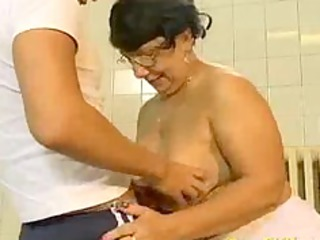 Crazy old mom gets fucked hard and does oral job