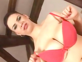 Chubby busty wife poses and uses a dildo before
