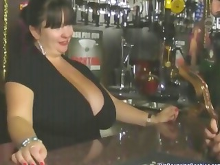 Chubby British mature barmaid with huge tits gets