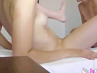 Stepmother and daughter join a double dildo