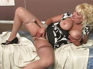 Blonde momma with huge boobs in sexy lingerie