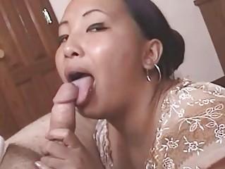 Nasty mature Asian gets cumfaced after hot blowjob