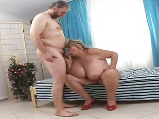 Huge grandmother sucking lucky old penis