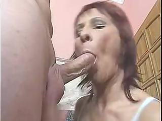 Red headed mother Id like to fuck receives it in