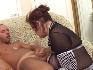Busty Russian Mature Sucks and Fucks with Young