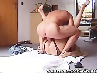 Chubby and busty amateur Milf fucks with handjob