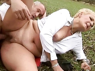 Granny gets fucked pretty hard outdoor