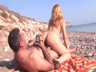 Mature blonde Latina fucked on the beach