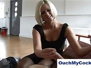 Laughing milf in lingerie gives harsh handjob