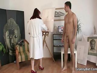 Hawt older lady jumps on his knob