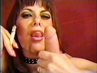 Mature woman sucking smoke and manmeat