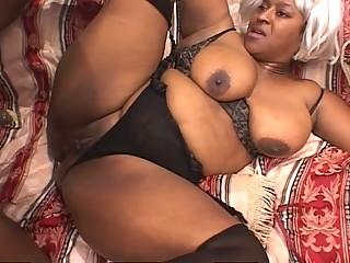 Black Fat Mature Slut Enjoys Two