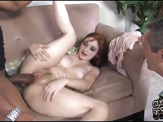Cuckold eats black cum out of his wifes vagina