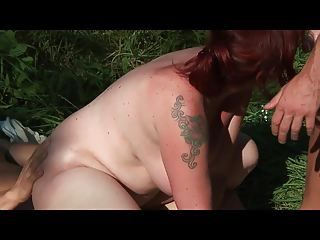 Bid Tits MILF fucked anal by 2 young sporty guys