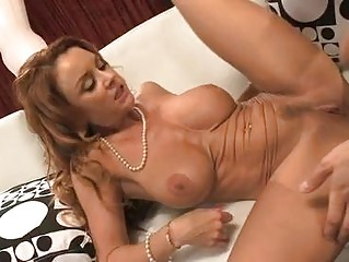 Desirable brunette milf with big honkers gets