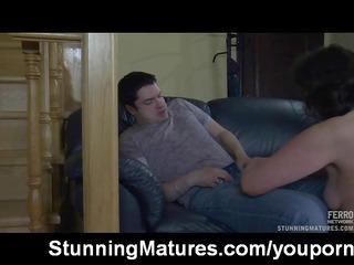 Mature lady getting mouthful of cum