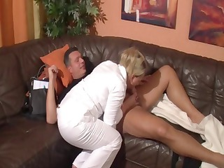 Busty mature blonde sucks cock and gets fucked by