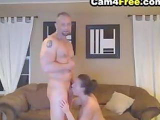 Deepthroating wife made him cum inside her mouth