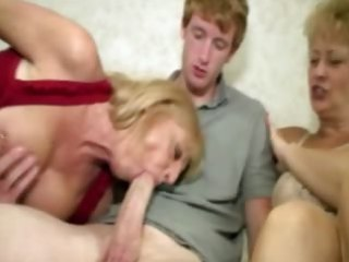 Granny and milf sucking cock for this very lucky