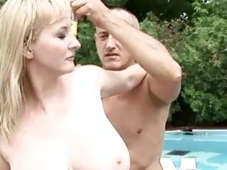 Busty grandma enjoys hot sex outdoor