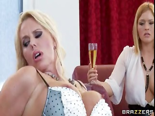 Busty blonde MILF Karen Fisher in sexy lingerie