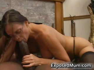 Hot Milf in glasses deepthroating black part3