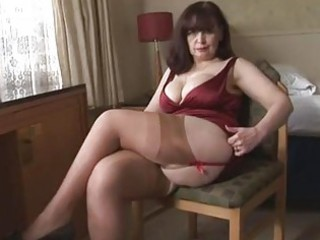 Big tits mature panty play and striptease