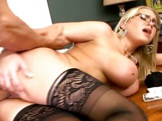 Busty blonde MILF in glasses get a dick