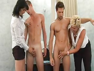 two milfs fuck younger men