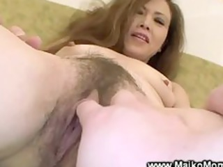 Hairy asian milf gets her pussy fingered by lucky