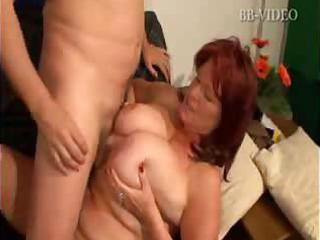 Dirty granny takes on her grandson`s long and