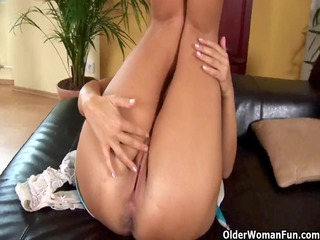 Older mommy Adele from OlderWomanFun shows her