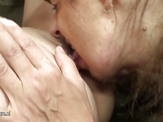 Hot babe fucks naughty mature lesbian mother