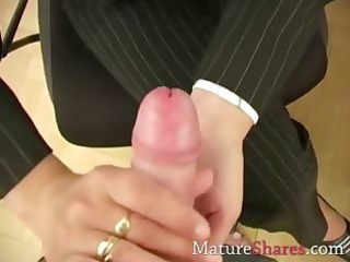 Mature secretary giving POV blowjob