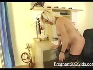 A teasing blonde preggo solo