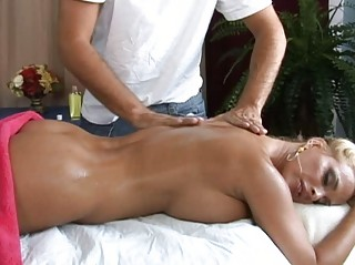 Hot busty blonde milf getting a great massage