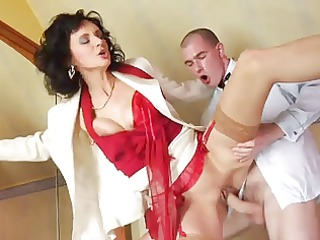 Stockings mature, red shoes anal and cumshot