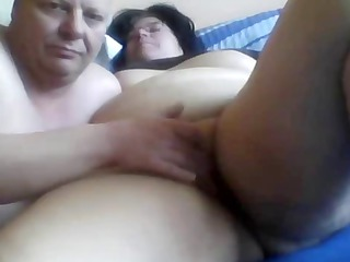 Horny fat amateur wife gets her swollen pussy