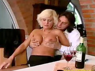 Crazy old mom gets fucked hard in pussy and