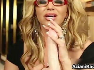 Blonde milf with huge tits loves playing part4