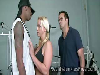 Horny blonde MILF teases a big black stud in