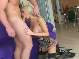 Big boobed blonde milf fucked in black stockings