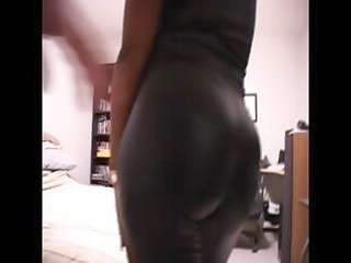 Ebony mom dressed in latex gets naked to suck and