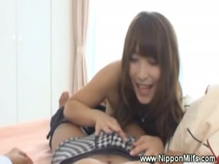 Mature asian milf gets fingered and gives blowjob