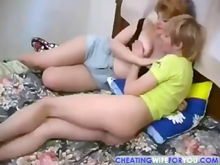 Russian mature slurps his cock before getting her