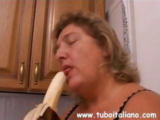 Italian mature is horny and gets a big cock to